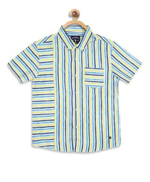 Blue Giraffe Half Sleeves Stripe Shirt - Blue & White