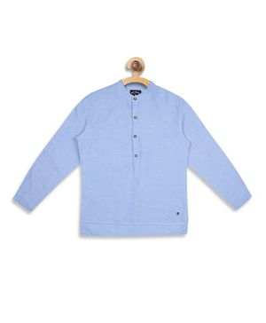 Blue Giraffe Solid Colour Full Sleeves Shirt - Light Blue