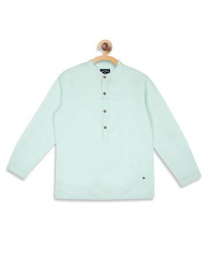 Blue Giraffe Solid Colour Full Sleeves Shirt - Light Green