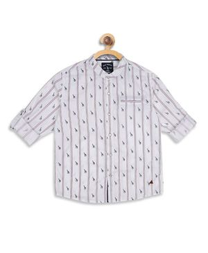 Blue Giraffe Full Sleeves Printed Shirt - Off White