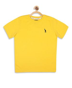 Blue Giraffe Half Sleeves Solid Color T-Shirt - Yellow
