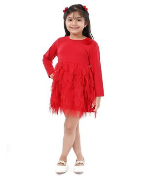 Babyoye Full Sleeves Solid Color Frock with Bloomer - Red