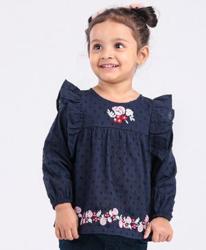 Babyoye Full Sleeves Floral Embroidered Top - Navy