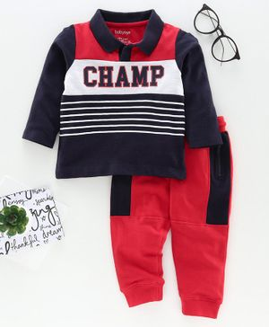 Babyoye Cotton Full Sleeves Tee with Lounge Pant Champ Print - Navy Blue Red