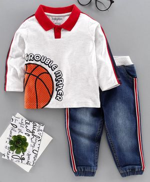Babyoye Cotton Blend Full Sleeves Tee with Jeans Basketball Print - White Blue