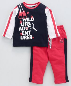 Babyoye Cotton Blend Full Sleeves Tee & Lounge Pant Text Print - Navy Red