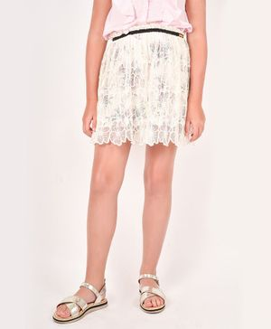 One Friday Flower Lacey Skirt - Off White