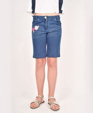 One Friday Flower Embroidery Detailing Shorts - Blue
