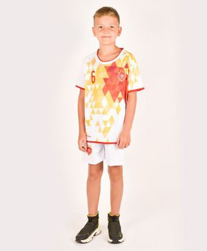 One Friday Half Sleeves 6 Printed T-Shirt With Shorts - White