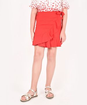 One Friday Jaquard Solid Skirt - Red