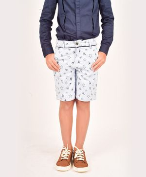 One Friday Star & Magnet Printed Shorts - Light Blue