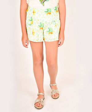 One Friday Leaves Printed Elasticated Shorts - Mint Green