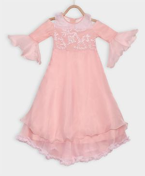 Rianna Bell Three Fourth Sleeves Embroidery Flared High Low Gown - Baby Pink