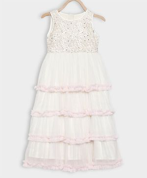 Rianna Sleeveless Tiny Flower Embroidery Layered Gown - Off White