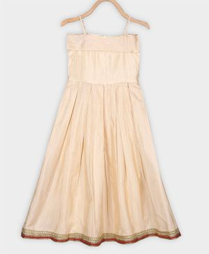 Rianna Sleeveless Gotta Patti  Lace Work Fit & Flared Gown - Off White