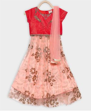 Rianna Cap Sleeves Choli With Flower Embroidery Flared Lehenga & Netted Dupatta Set  - Red