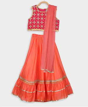 Rianna Sleeveless Flower Embroidered Choli With Gotta Patti lace Work Lehenga & Dupatat Set - Pink