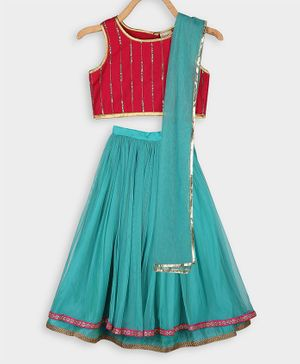 Rianna Sleeveless  Sequins Choli With Gotta Patti Lace Work Lehenga & Netted Dupatta Set - Teal & Red