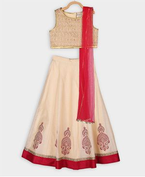 Rianna Sleeveless Brocade Choli With Lehenga & Dupatta  - Off White