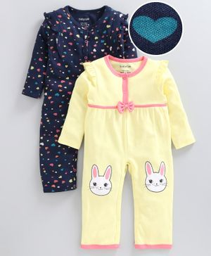 Babyoye Full Sleeves Sleep Suit Heart Print Pack of 2 - Yellow Navy