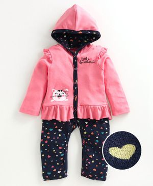 Babyoye Full Sleeves Hooded Romper Kitty Print - Blue Pink