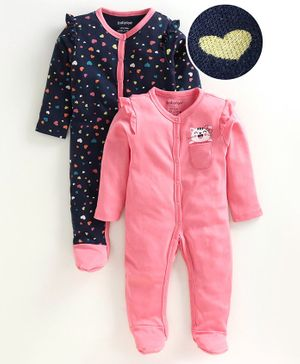 Babyoye Full Sleeves Cotton  Sleepsuit Heart Print Pack of 2 - Navy Pink