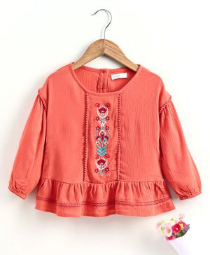 Babyoye Full Sleeves Tee Floral Embroidered  - Coral