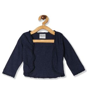 Cherokee Full Sleeves Lace Tip Knit Shrug - Blue