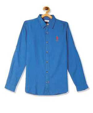 U.S. Polo Assn. Kids Full Sleeves Spread Collar Solid Shirt - Blue