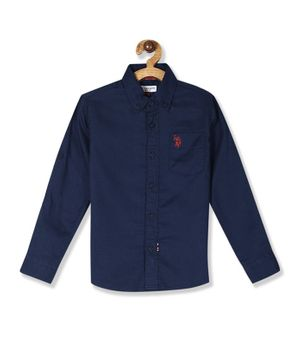 U.S. Polo Assn. Kids Button Down Full Sleeves Solid Shirt - Blue