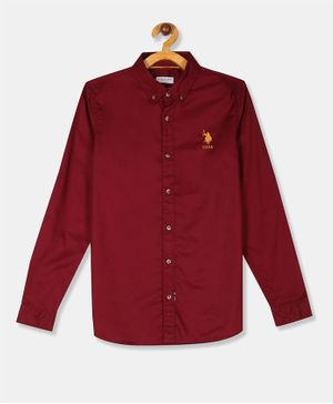 U.S. Polo Assn. Kids Button Down Solid Full Sleeves Shirt - Maroon