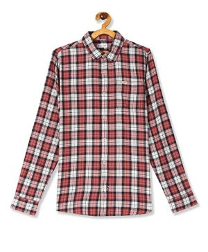 U.S. Polo Assn. Kids Full Sleeves Checked Shirt - Maroon