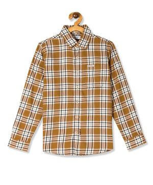 U.S. Polo Assn. Kids Full Sleeves Checked Shirt - Brown