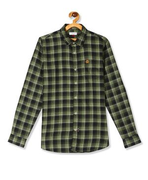U.S. Polo Assn. Kids Full Sleeves Checked Shirt - Green