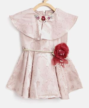 Tiny Girl Flower Applique Short Sleeves Dress - Beige