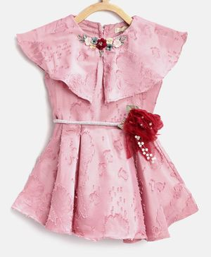 Tiny Girl Flower Applique Short Sleeves Dress - Pink