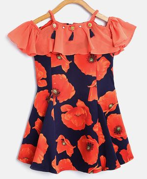 Tiny Girl Floral Printed Short Sleeves Dress - Navy & Peach