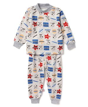 Awabox Full Sleeves Star Printed Night Suit - Multi Colour