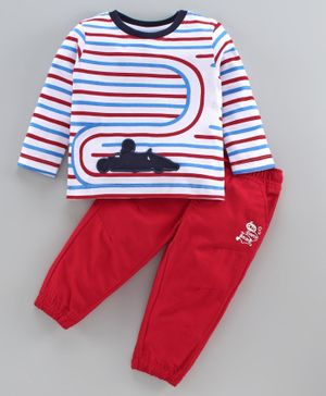 Babyoye Cotton Full Sleeves Stripe Tee & Pull Up Pants With Drawstring - White Red