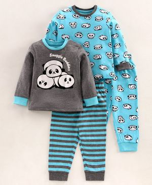 Babyoye Cotton Blend Full Sleeves Night Suits Pack of 2 - Blue Grey