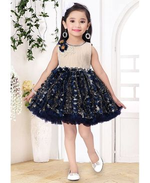 Fiona Sleeveless Tassel & Pearl Detailed Fit & Flared Tulle Dress  - Navy Blue