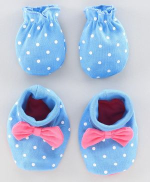 Babyoye Mittens & Booties Set Polka Dot Print - Blue