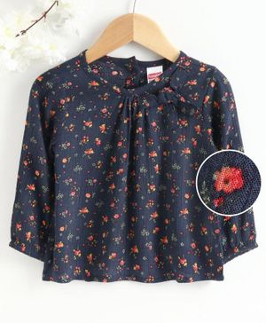 Babyhug Full Sleeves Floral Print - Blue