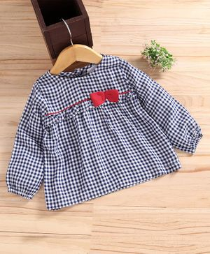 Babyhug Full Sleeves  Checkered Top  - Blue