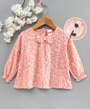 Babyhug Puffed Sleeves Top with Bow Floral Print - Peach