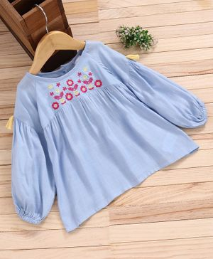 Babyhug Full Sleeves Top Floral Embroidered - Blue