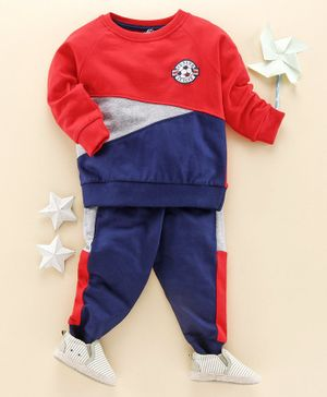 Babyhug Full Sleeves Cotton Tee with Lounge Pant Junior League Patch - Red Blue