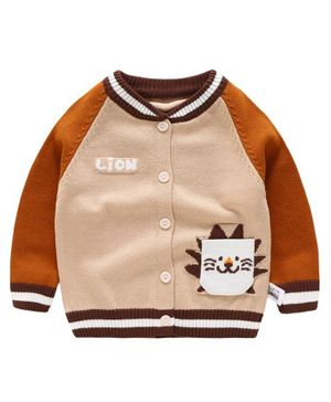 Kookie Kids Full Sleeves Sweater Lion Patch - Brown