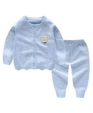 Kookie Kids Full Sleeves Winter Wear Sweater Set Bear Patch - Blue