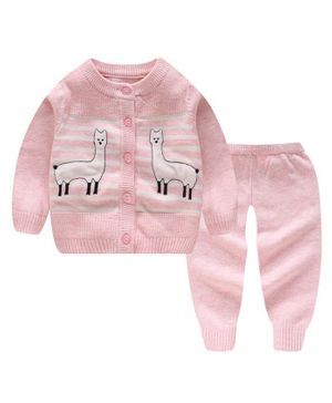 Kookie Kids Full Sleeves Winter Wear Sweater Set Llama Patch - Pink